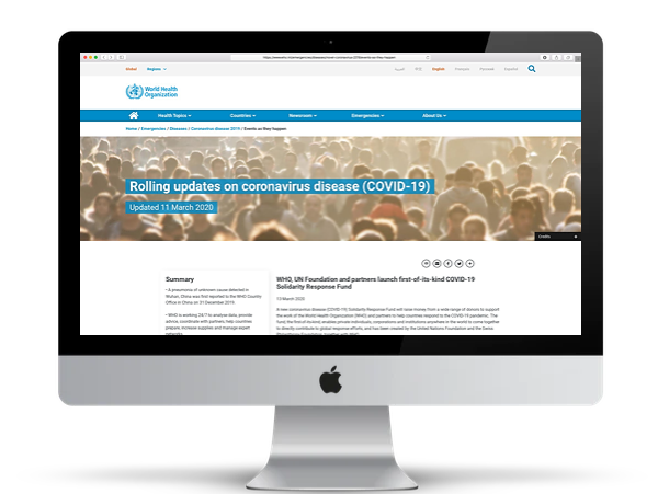 World Health Org COVID-19 Page